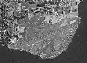 Arial view of deactivated Puget Sound Sand Point Naval Station