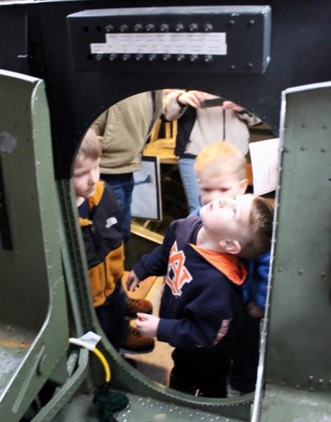 children touring PBY aircraft